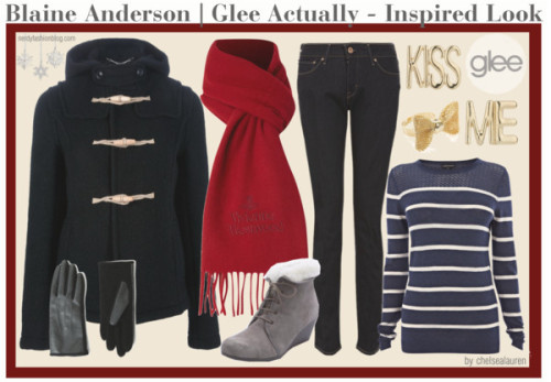 Blaine Anderson | Glee - Inspired Look by chelsealauren10  I would need to rewatch to see if we actually can tell what he's wearing under the coat, but until then (and since this is only an inspired look anyway), I'll stick with the stripes.