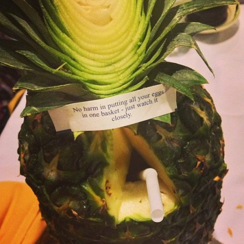 Sketchy advice from my Pineapple Passion cocktail. (at Jade Island)