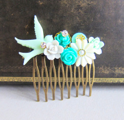 Mint Green Wedding Hair Comb - JEWELSALEM