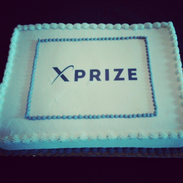 Celebrating the official unveiling of our new XPRIZE logo today… with cake!
