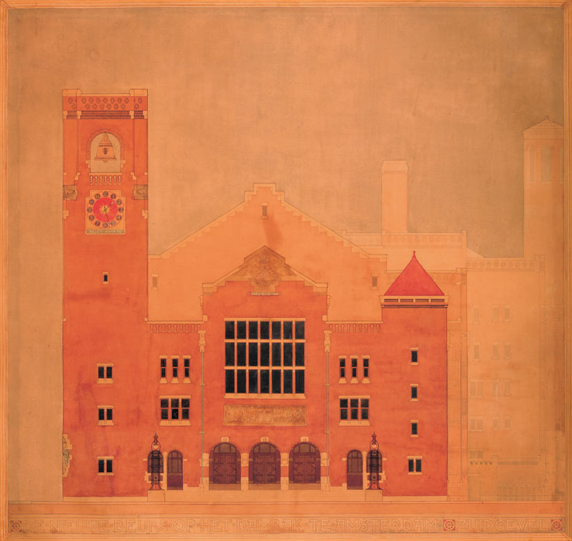 Berlage's design for the elevation of the Amsterdam stock exchange