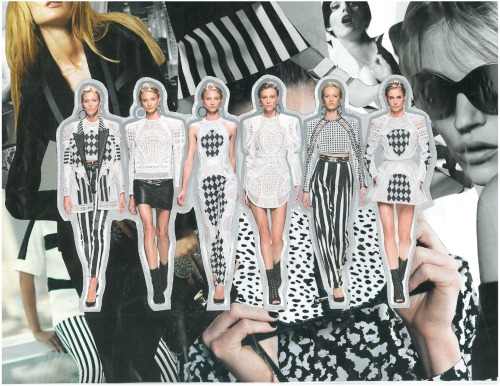 """Balmain, Spring 2013 Inspiration"" Those big shoulders, the black and white, it's a proportional dream.  I love how black and white is making a come back! It is a perfect statement piece color with effortless class.  As for Spring, black and white is the go to right now, along with pale pinks and pastels. What are you buying this Spring?"