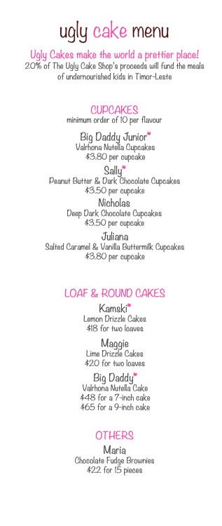 A snapshot of our menu! :) Big Bowl Banana Cake coming soon…