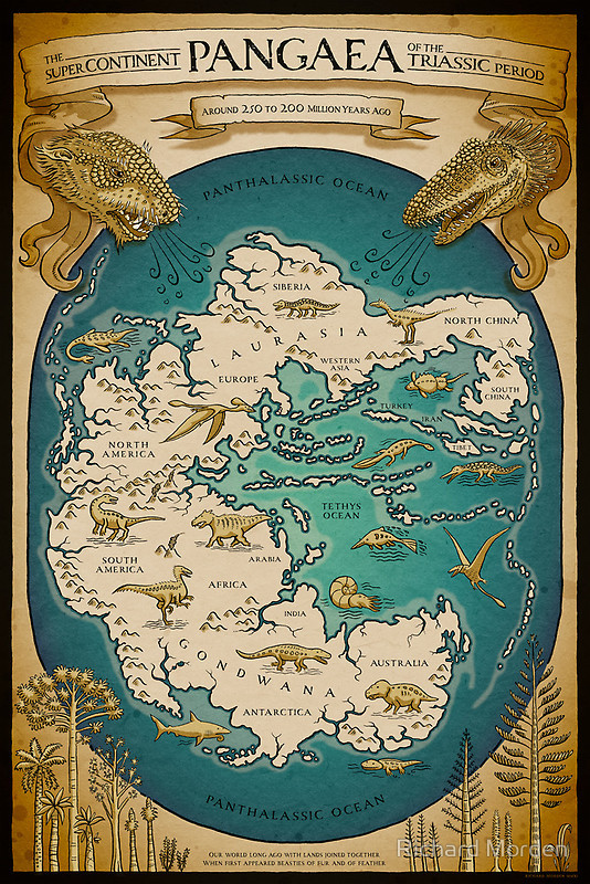 """Map of the supercontinent Pangaea in the Triassic period, when """"first appeared beasties of fur and feather"""". The Tethys Ocean looks like it would have had nice beaches to lounge around on, hunting for nautilus shells, sipping Diño Coladas. (byRichard Morden on Redbubble, available as a poster there if you'd like one!)"""