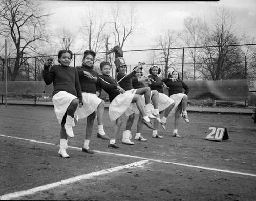 Members of the North Side Elks Majorettes, 1945. Teenie Harris, photographer. Courtesy of the Carnegie Museum of Art, Pittsburgh, PA.