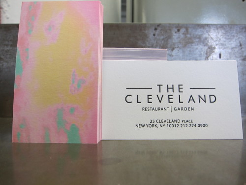 Classic letterpress on one side with full-color CMYK dreamscape on the reverse. Business cards for The Cleveland, a new restaurant in Nolita.