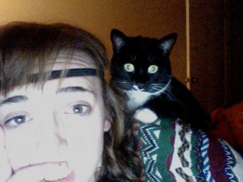 While skyping with my sister her cat climbed on her shoulder. She's half bush baby.