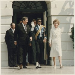 The Reagans and Michael Jackson, 1984President and First Lady Reagan and Michael Jackson at the White House Ceremony to Launch the Campaign Against Drunk Driving on May 14, 1984.