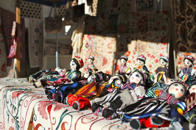 asiasociety:  Photo of the Day: Handmade Treasures in Uzbekistan A row of handmade dolls line a market stall in Bukhara, Uzbekisan on October 1, 2012. (erh1103/Flickr) Want to see your images in our 'Photo of the Day' posts? Find out how.