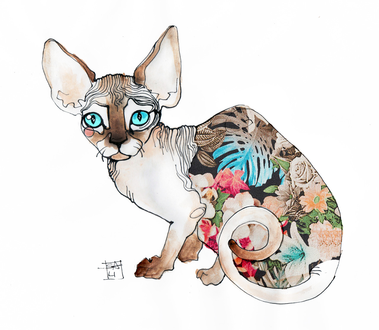 eatsleepdraw:  Illustration by Sara Ligari more sphynx cat illustrations here