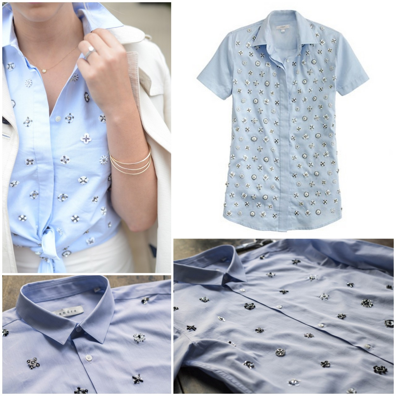 truebluemeandyou:  DIY J.Crew Knockoff Beaded Oxford Shirt Tutorial from Make My Lemonade here. I used Chrome to translate French to English. For pages more of knockoffs go here: truebluemeandyou.tumblr.com/tagged/knockoff Top Left Photo: Cupcakes and Cashmere wearing J.Crew shirt here.  Top Right Photo: $198 J.Crew Beaded Shirt here.  Bottom Photos: DIY by Make My Lemonade.
