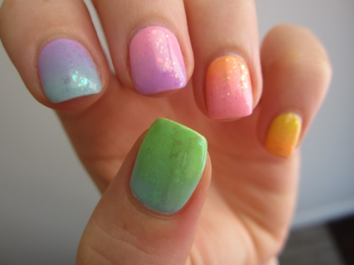 Rainbow nails with Lime Crime creams and Zoya flaky topcoats.  More original nail art.