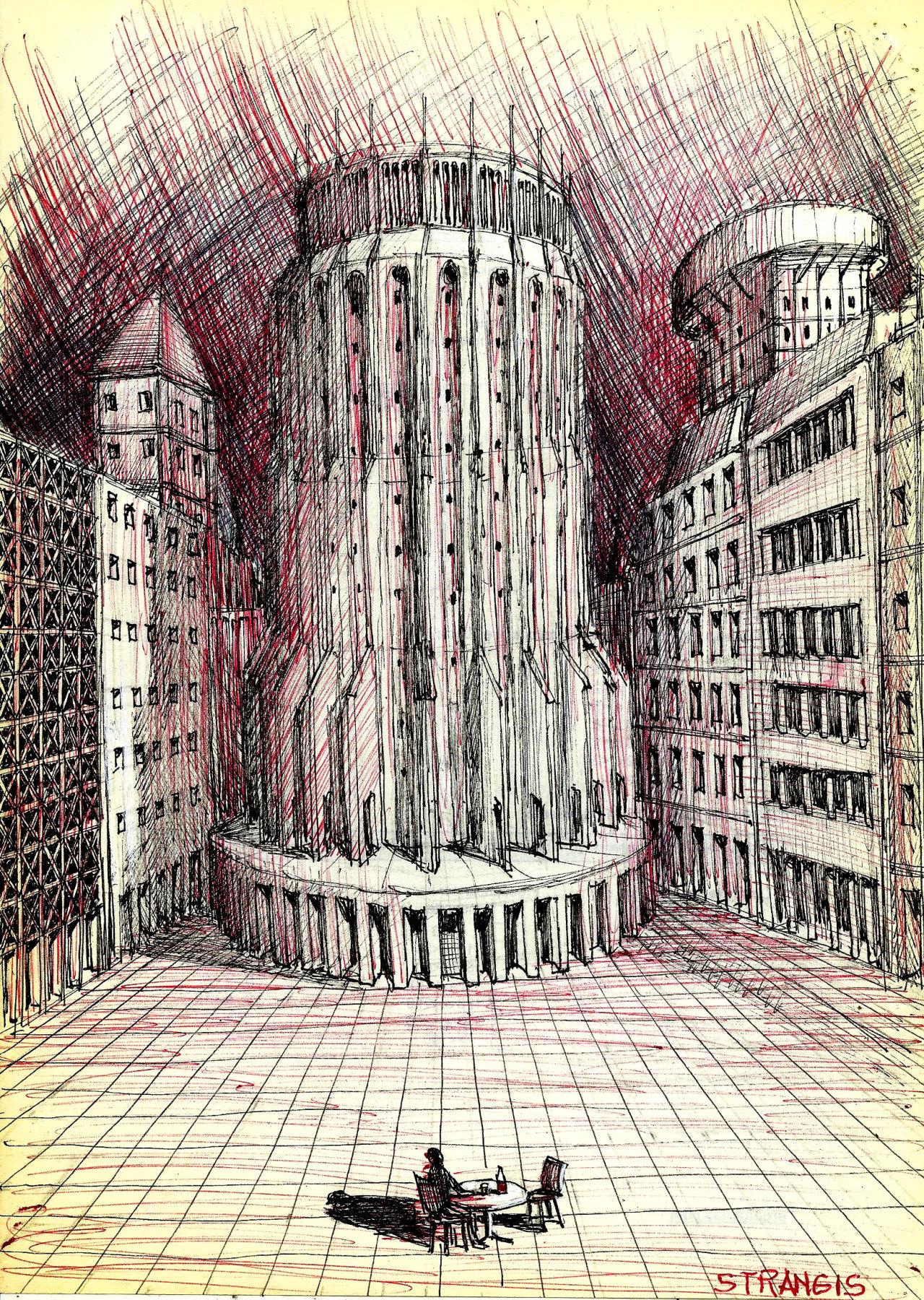 Un hombre solo, bebe y espera en la ciudad vacìa 2020 Serie  Negro y rojo A.L.Moure Strangis #sketch#metaphysical#drawing#imaginary city #artists on tumblr