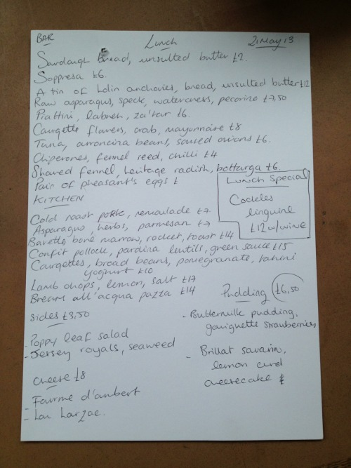 Tuesdays Menu