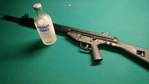 in celebration of the gun control bill that didn't pass i bring you glorious FAL and vodka