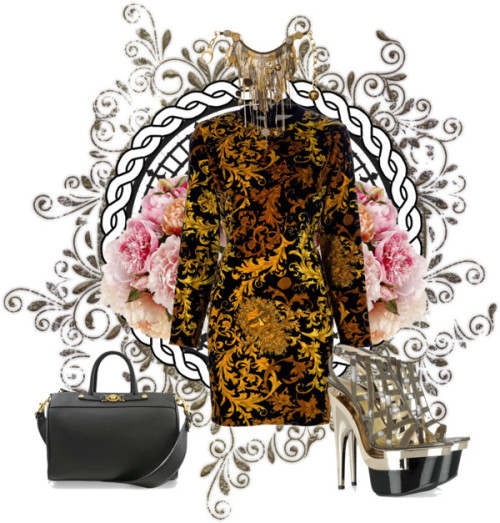 Versace by omgitsferucha featuring versace handbagsVersace vintage dress, $1,255 / Versace high heel shoes, $805 / Versace  handbag / Versace  necklace / Big Ben, London, Illustration Design Print