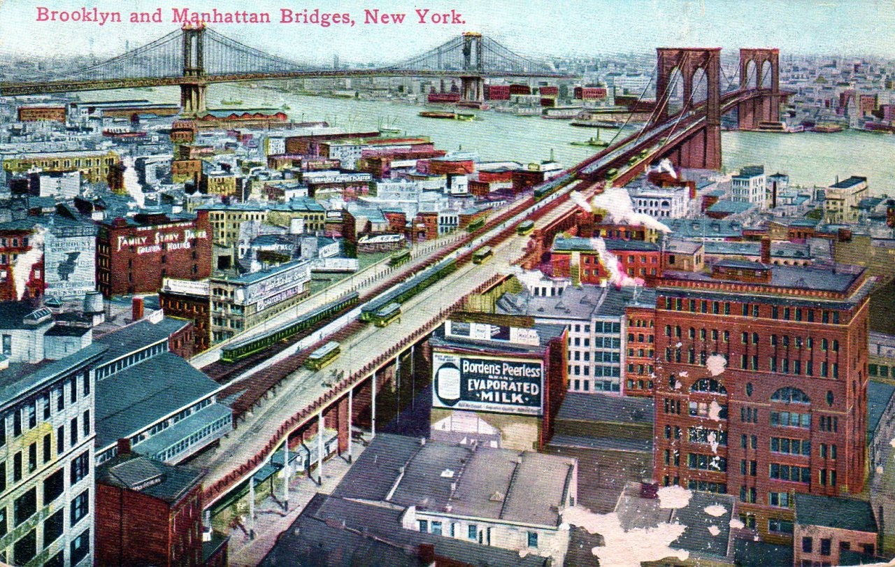 The Brooklyn and Manhattan Bridges, New York City