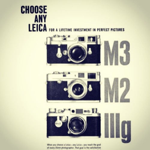 fotopiahk:  Choose any Leica for a lifetime investment in Perfect Pictures. M3, M2. IIIG?