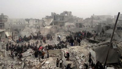 Aleppo Via the Times of Israel: This citizen journalism image provided by Aleppo Media Center AMC, which has been authenticated based on its contents and other AP reporting, shows people searching through the debris of destroyed buildings in the aftermath of a strike by Syrian government forces, in the neighborhood of Jabal Bedro, Aleppo, Syria, Tuesday Feb. 19, 2013 (photo credit: AP/Aleppo Media Center) The Aleppo Media Center (English) is on Facebook.