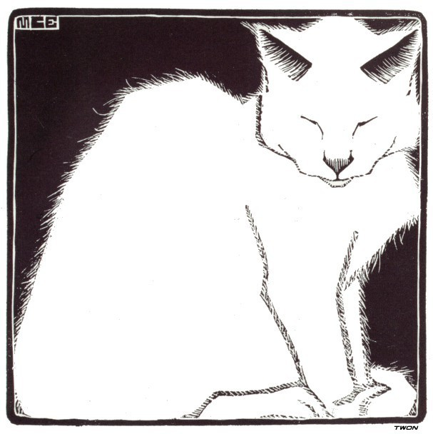 Maurits Cornelis Escher aka M.C. Escher (Dutch,1898-1972) - White Cat, 1919 Woodcut (via red-lipstick:)