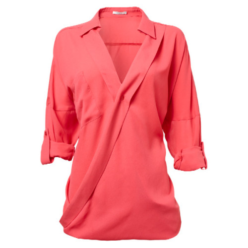 Blouse   ❤ liked on Polyvore (see more coral tops)