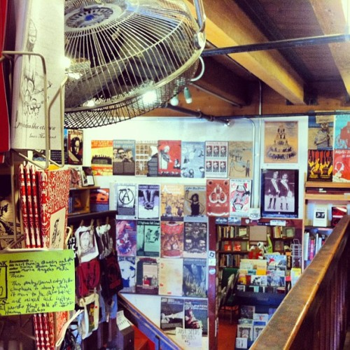 Books, books, posters, anarchist papers, and more books.  (at Left Bank Books)