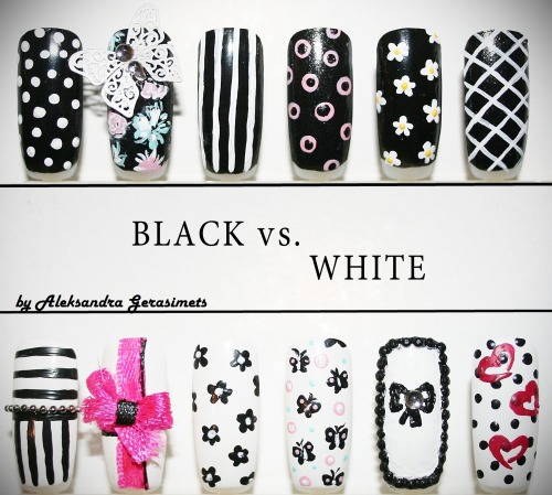 """Black vs. White"" set of nails"