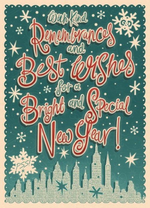 weandthecolor:  Happy Holidays! A hand lettered holiday card by Irish illustrator Steve Simpson for Grosset & Dunbar, an imprint of Penguin USA. More details of the holiday card design on WE AND THE COLORFacebook // Twitter // Google+ // Pinterest
