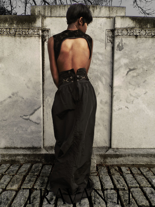 blackfashion:  Bleached suede gun holster vest and silk faille skirt: Travanti carteristravanti.tumblr.com Photographed by  Carteris Travanti