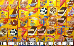 The hardest decision of your childhood. Who the hell gets anything besides a chipwich?!