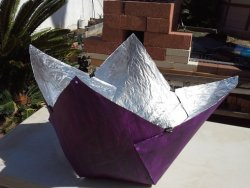 "mothernaturenetwork:  treehugger: Build a solar cooker for just $5  ""The whole materials list consists of posterboard, aluminum foil, some glue, a shoelace, and a couple of binder clips (and some purple paint - after all, it is named the Purple Fig solar cooker)."""