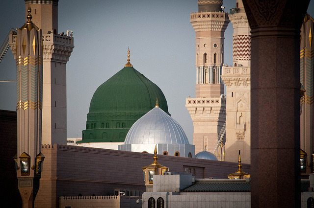 The famous green dome of the Prophet's Mosque in Madinah on Flickr.