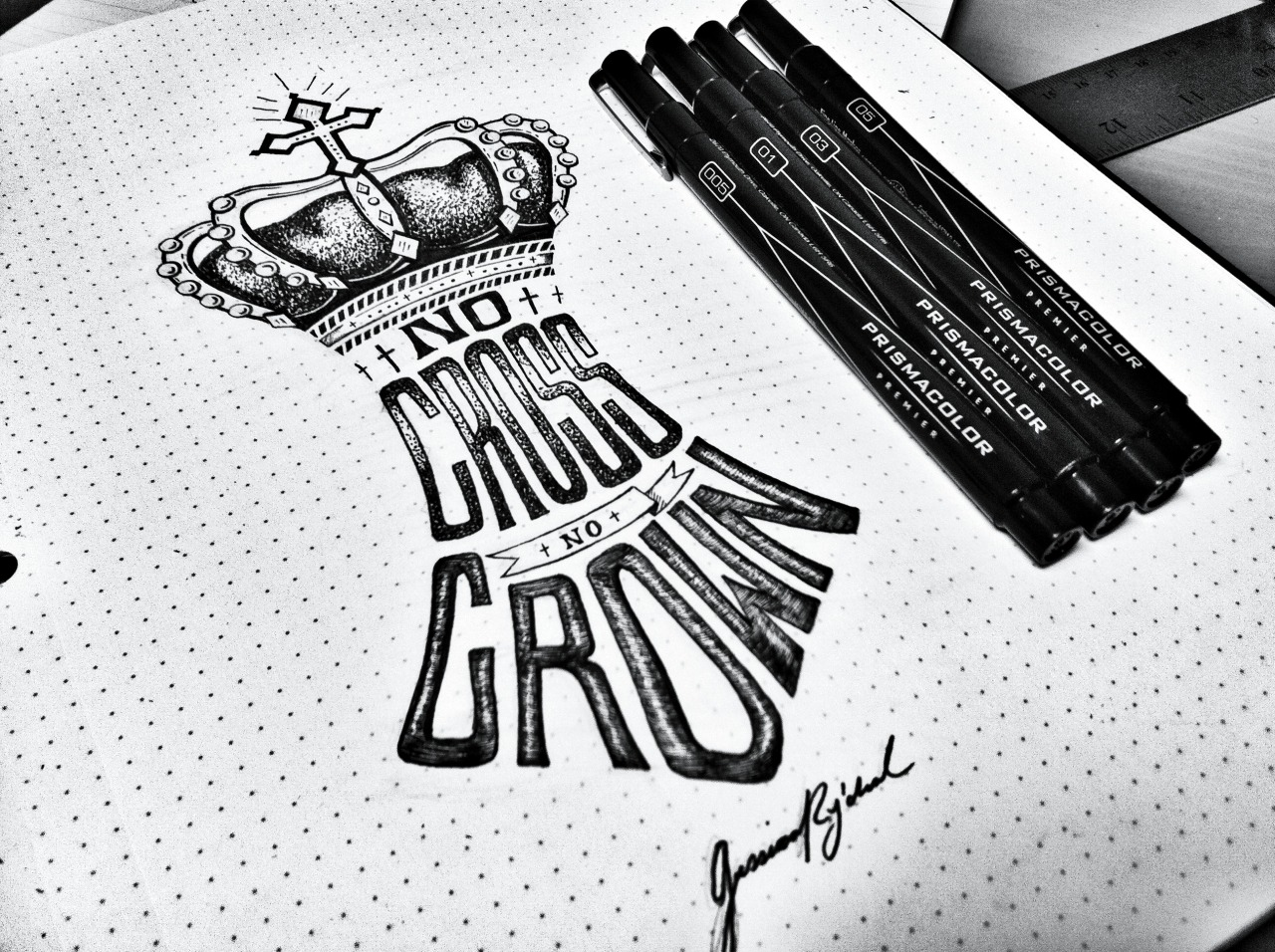 No cross, no crown    |    Freehand Lettering Sketch x Jessica Rycheal