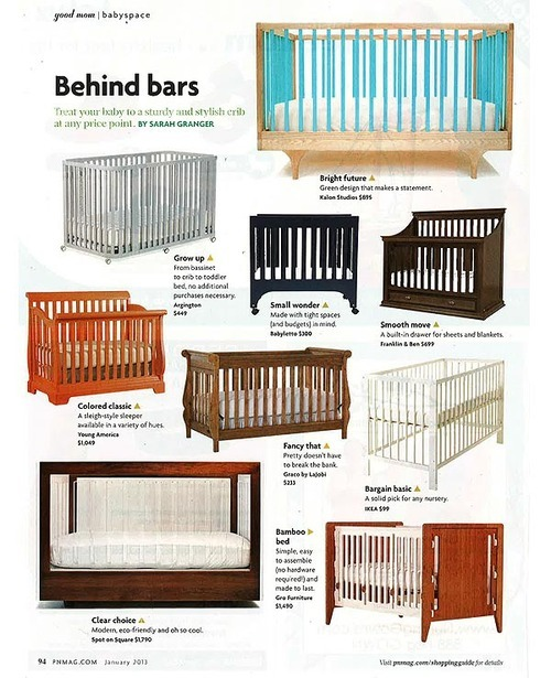 Young America Built To Grow Sleigh Crib in Pregnancy & Newborn magazine, January 2013