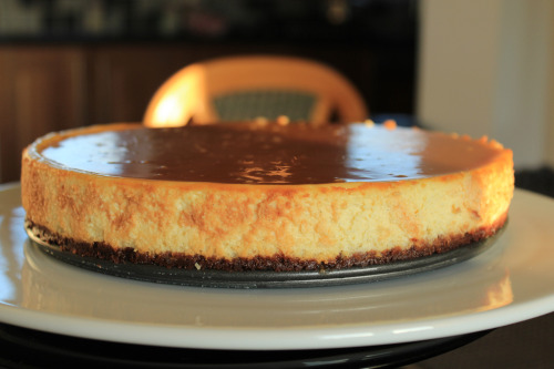 gastronomyfiles:  Cheese Cake on bourbon biscuit base, salted caramel topping (by SueC12)