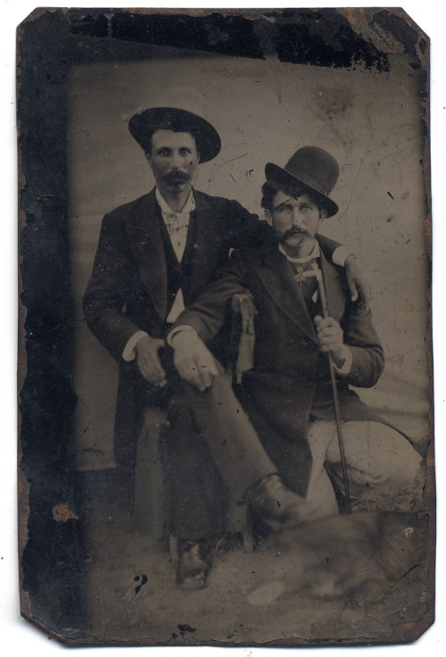 ca. 1860-80's, [tintype portrait of two moustachioed men with a dog] via Ebay