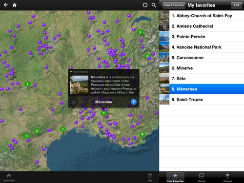 Fotopedia France - Map view with favorite list (iPad)