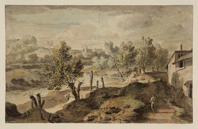 Italian landscape. William Taverner British 1700-1772. pencil watercolor 201x326mm. Tate Col. by tony harrison on Flickr.