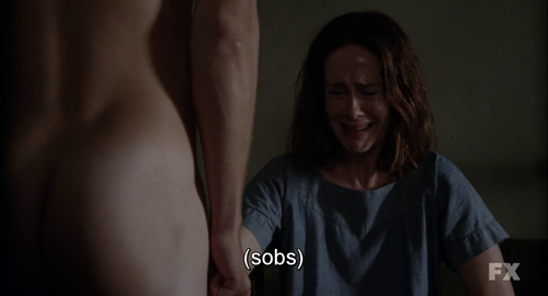 langdonhorror:   a gay man portraying a straight man forcing a lesbian actress playing a lesbian to focus on a hot dude's dick  ladies and gentleman, American Horror Story.