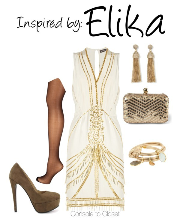 Elika (Prince of Persia) by ladysnip3r featuring gold clutches This outfit is inspired by Elika from Prince of Persia. I really wanted the outfit to be fancy, since she is a princess, but also have some exotic influences. I chose a beaded dress paired with brown pumps. I also chose gold jewelry and a gold sequin clutch to really compliment the dress. (Reference Image) Aristoc black stocking, $20 / Nelly Shoes platform pumps, $65 / White House Black Market gold clutch / C. Wonder vintage earrings