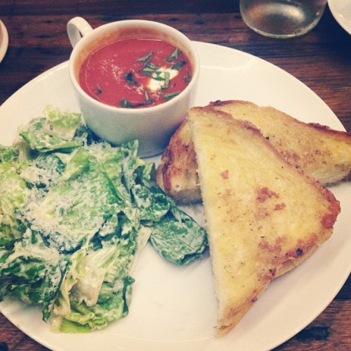 Go-to comfort food after a loooong day. Grilled cheese and tomato soup done the right way! (at Wildflour Café + Bakery)