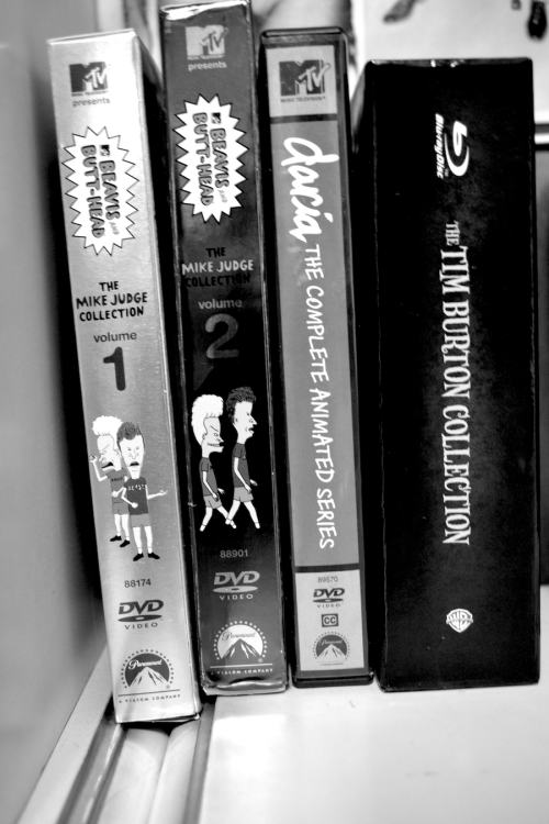 My babies. Beavis and Butthead, Daria, and my Tim Burton collection. These are the 4 things that kept me going this past semester. I love them all, forever and ever.