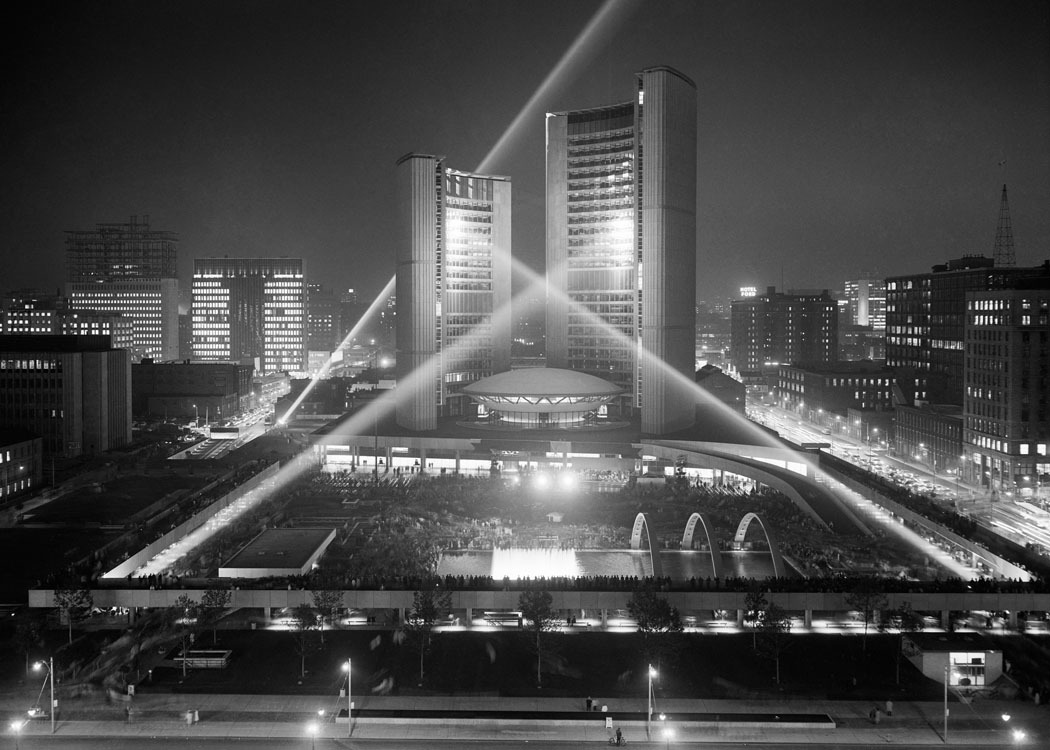 nickkahler:  Viljo Revell, City Hall, Toronto, Canada, 1961-5 Spectacle of the City Hall Opening Ceremony in 1965.