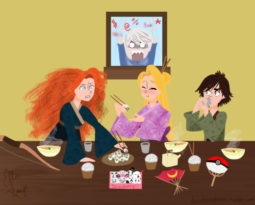 dearhoneylemon:  Yaaaay! A sushi party at the Big Four's cottage, courtesy of Rapunzel (who made the outfits)! Jack wasn't invited because he spoiled the recent episode of Free! to everyone else, so he gets to miss out on dessert…which is sea salt ice-cream (his favorite). Merida is having a hard time using chopsticks, maybe Hiccup will give her some pointers… Bonus points to anyone who finds the Easter Eggs!