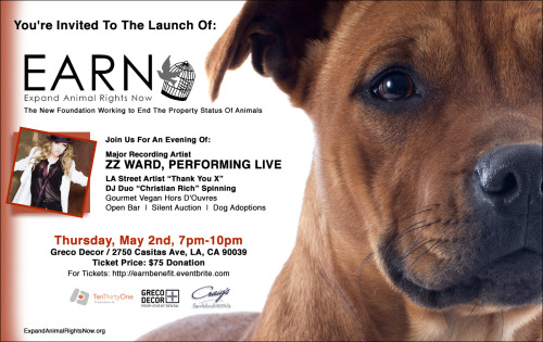 I'm playing a benefit for EARN (Expand Animal Rights Now), along w Christian Rich DJ'ing and LA Street Artist Thank You X, in Los Angeles May 2nd. If you are free and you'd like to attend please feel free to make a donation at the website on the flyer as we would love to see you there and it's for a great cause near and dear to my heart (and Muddy, of course). AND, whether you can make it or not, please feel free to share this invitation with whomever you'd like.