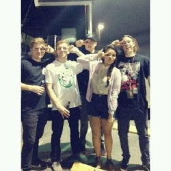 Me & my buddies from TSSF being fabulous bitches. These guys are srsly so cool & I don't understand how people can call them assholes. Shit was crazy tonight. Great band & great dudes!