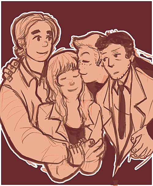 thimblings:  the winchester family —- so after i'd already drawn it out i was like KEVINNN but i liked the composition too much to change it and just sticking him in there looked awkward ): he's got mommy tran though who i am saying is alive no matter what