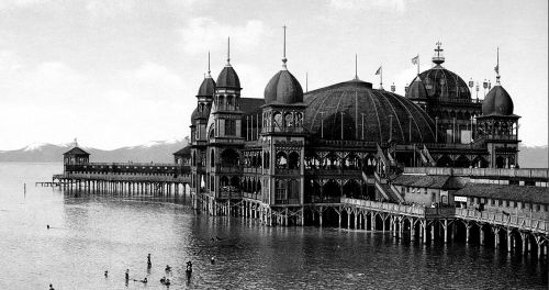 fyeahstpunk:  The original Saltair on The Great Salt Lake before it was destroyed by fire, Utah, USA, circa 1900.