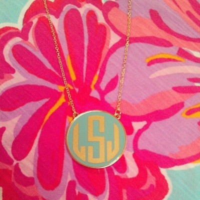 personalizedfrommetoyou:  New enamel monogram necklace, love how it pops on this Lilly print! #monogramnecklace #monogrammed #monogram #personalizedfrommetoyou #lillypulitzer