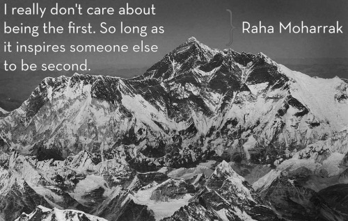 "futurejournalismproject:  Scaling Mt. Everest Twenty-five-year-old Raha Moharrak is the first Saudi Arabian woman, and youngest Arab ever, to reach the summit of Mt. Everest. She accomplished the feat with the first Qatari and Palestinian men to ever reach the peak, and an Iranian man. The group calls itself Arabs with Altitude and the expedition was made in an attempt to raise $1 million for education projects in Nepal. Image: Raha Moharrak on being ""first"". Mt. Everest aerial view via Wikimedia Commons. Select to embiggen."